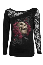 Womens Lace Patchwork Skull Rose Printed Long Sleeve Top Black