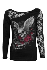 Womens Lace Patchwork Skull Wings Printed Long Sleeve Top Black