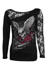 Womens Lace Patchwork Skull Wings Printed Long Sleeve Top Black
