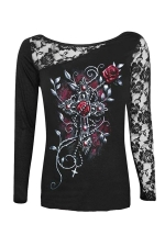 Womens Lace Patchwork Rose Printed Long Sleeve T-shirt Black