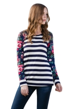 Womens Flower Printed Strips Patchwork Crew Neck T-shirt Blue