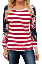 Womens Flower Printed Strips Patchwork Crew Neck T-shirt Red
