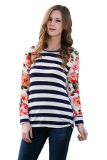 Womens Flower Printed Strips Patchwork Crew Neck T-shirt White