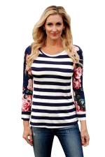 Womens Flower Printed Strips Patchwork Crew Neck T-shirt Navy Blue