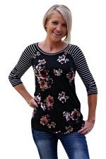 Womens Flower Printed Strips 3/4 Length Sleeve T-shirt Black