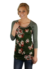 Womens Flower Printed Strips 3/4 Length Sleeve T-shirt Green