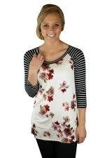 Womens Flower Printed Strips 3/4 Length Sleeve T-shirt White