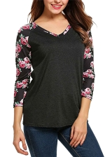 Womens V-neck Flower Printed Strips Patchwork T-shirt Dark Gray