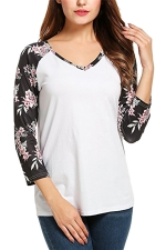 Womens V-neck Flower Printed Strips Patchwork T-shirt White