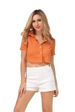 Womens Turndown Collar Lace-up Bow Short Sleeve Crop Top Orange