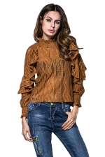 Womens Ruffled Sheer Striped Patterned Long Sleeve Plain Blouse Brown
