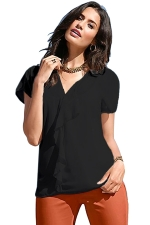 Womens V Neck Ruffled Short Sleeve Plain Blouse Black