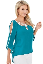 Womens 3/4 Length Open Sleeve Irregular Chiffon Blouse Turquoise