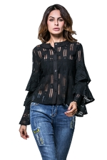 Womens Single-breasted Ruffled Flare Sleeve Plain Lace Blouse Black