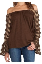 Womens Off Shoulder Lace Patchwork Long Sleeve Plain Blouse Coffee