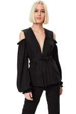 Womens Deep V Neck Cold Shoulder Puff Sleeve Plain Blouse Black