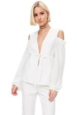 Womens Deep V Neck Cold Shoulder Puff Sleeve Plain Blouse White