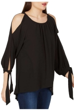 Womens Cold Shoulder Slit Lace-up Sleeve Plain Blouse Black