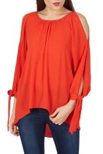 Womens Cold Shoulder Slit Lace-up Sleeve Plain Blouse Tangerine