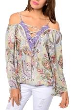 Womens V-neck Draw String Cold Shoulder Plus Size Blouse Purple