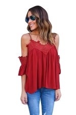 Womens Sexy Straps Cold Shoulder Patchwork Blouse Ruby