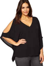 Womens V-neck Cold Shoulder Chiffon Blouse Black