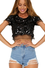 Womens Sequins Organza Patchwork Crew Neck Crop Top Black