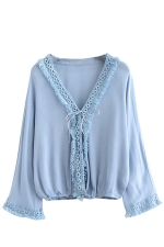 Womens Casual V-neck Fringe Batwing Sleeve Blouse Light Blue