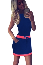 Womens Color Block Sleeveless Tank Dress Blue
