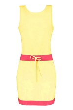 Womens Color Block Sleeveless Tank Dress Yellow