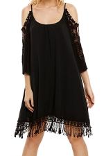 Womens Cold Shoulder Hollow Out Fringe Plain Smock Dress Black