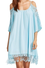 Womens Cold Shoulder Hollow Out Fringe Plain Smock Dress Light Blue