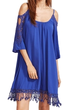 Womens Cold Shoulder Hollow Out Fringe Plain Smock Dress Sapphire Blue