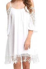 Womens Cold Shoulder Hollow Out Fringe Plain Smock Dress White