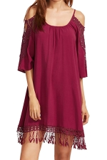 Womens Cold Shoulder Hollow Out Fringe Plain Smock Dress Ruby