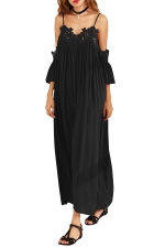 Womens Cold Shoulder Lace Embroidery Pleated Plain Maxi Dress Black