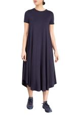 Womens Plain Short Sleeve Pleated Asymmetric Hem Smock Dress Navy Blue