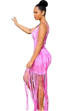Womens Printed Fringed Hem Sleeveless Maxi Tank Dress Pink