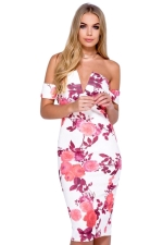 Womens Off Shoulder Floral Printed V-neck Midi Dress Pink