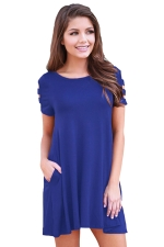 Womens Banded Short Sleeve Relaxing Casual Smock Dress Blue