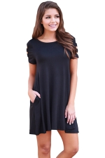 Womens Banded Short Sleeve Relaxing Casual Smock Dress Black