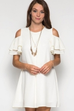 Womens Cold Shoulder Crew Neck Ruffle Sleeve Smock Dress White