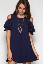 Womens Cold Shoulder Crew Neck Ruffle Sleeve Smock Dress Navy Blue