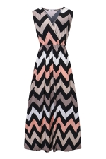 Womens Fashion Wave Strips V-neck Sleeveless Maxi Dress Gray