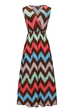 Womens Fashion Wave Strips V-neck Sleeveless Maxi Dress Red