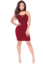 Womens Lace-up V Neck Choker Sleeveless Plain Clubwear Dress Ruby