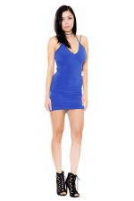 Womens V Neck Strappy Backless Plain Mini Clubwear Dress Blue