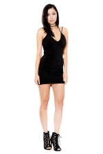 Womens V Neck Strappy Backless Plain Mini Clubwear Dress Black