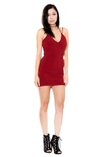 Womens V Neck Strappy Backless Plain Mini Clubwear Dress Ruby
