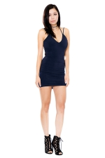 Womens V Neck Strappy Backless Plain Mini Clubwear Dress Navy Blue